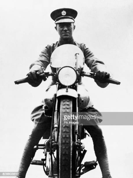 Aircraftsman Thomas Edward Shaw on his motorcycle a Brough Superior SS100 Shaw was better known as Lt Col TE Lawrence or 'Lawrence of Arabia A major...
