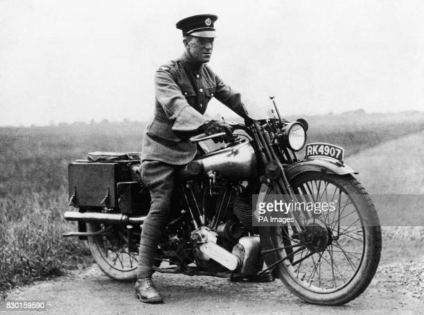Aircraftsman Thomas Edward Shaw on his motorcycle a Brough Superior SS100 Shaw was better known as Lt Col TE Lawrence or 'Lawrence of Arabia' A major...