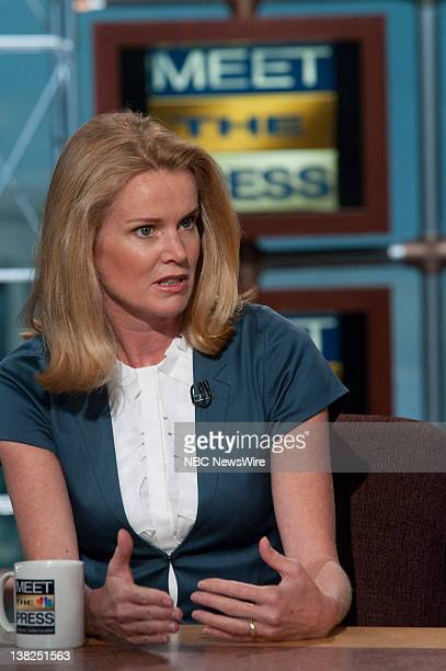 Katty Kay Washington Correspondent BBC World News America appears on Meet the Press with moderator David Gregory in Washington DC May 31 2009