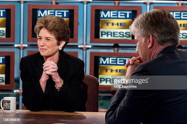 Kathleen Kennedy Townsend niece of Sen Ted Kennedy left and moderator David Gregory right appear on Meet the Press in Washington DC Sunday August 30...