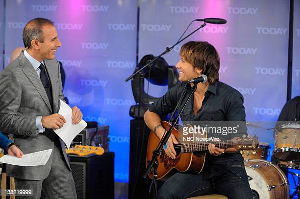 Matt Lauer speaks with Keith Urban before his performance on NBC News' Today show