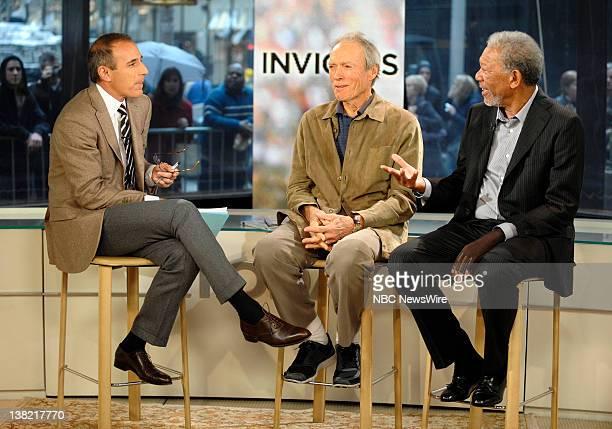 Matt Lauer Clint Eastwood and Morgan Freeman appear on NBC News' Today Show