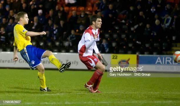 David Van Zanten fires the ball goalward to further increase Morton's advantage to 2 goals