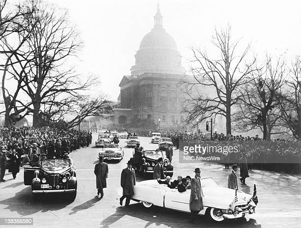 D EISENHOWER Aired Pictured Presidentelect Dwight D Eisenhower First Lady Mamie Eisenhower in the motorcade in the inaugural parade during the...