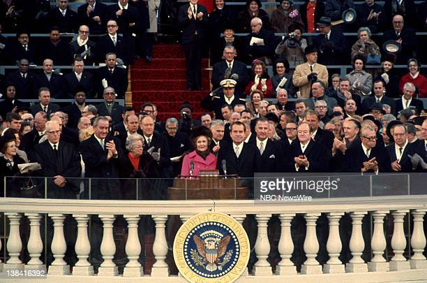 unknown Chief Justice Earl Warren preceding President Lyndon B Johnson unknown First Lady Pat Nixon President Richard Nixon Vice President Spiro...