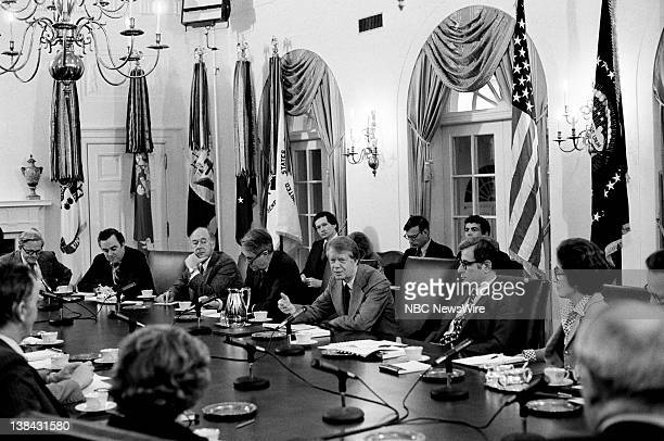 US President Jimmy Carter during a Cabinet meeting in the Cabinet Room of the White House on April 4 1977