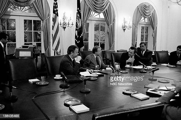 US President Jimmy Carter during a meeting in the Cabinet Room on April 4 1977