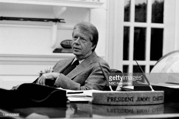 US President Jimmy Carter in his private study in the White House on April 4 1977