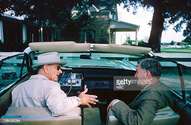US President Lyndon B Johnson gives a tour to NBC News' Ray Scherer of his home state in central Texas in November 1965