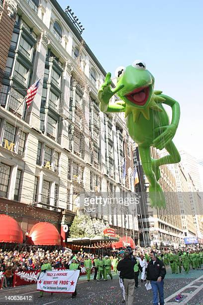 S 77TH THANKSGIVING DAY PARADE Aired Pictured Kermit The Frog balloon at the 2003 Macy's Thanksgiving Day Parade Photo by NBCU Photo Bank
