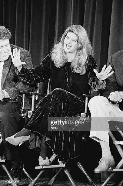 Aired 11/8/90 -- Pictured: George Wendt and Kirstie Alley answer questions during the 200th Episode Celebration Special -- Photo by: Alice S....