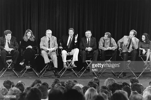 George Wendt Kirstie Alley moderator John McLaughlin Ted Danson John Ratzenberger Woody Harrelson Kelsey Grammer and Bebe Neuwirth answer questions...