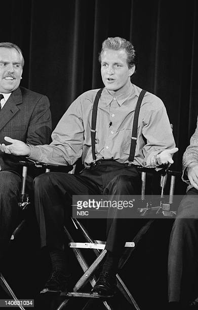Aired 11/8/90 -- Pictured: John Ratzenberger and Woody Herrelson answer questions during the 200th Episode Celebration Special -- Photo by: Alice S....