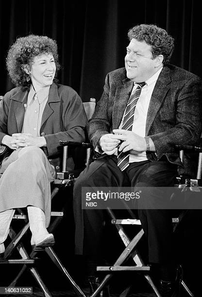 Aired 11/8/90 -- Pictured: Rhea Perlman and Geoorge Wendt answer questions during the 200th Episode Celebration Special -- Photo by: Alice S....