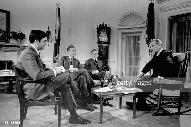 PRESIDENT Aired Pictured CBS News' Dan Rather NBC News' Ray Scherer ABC News' Frank Reynolds President Lyndon B Johnson during a press conference in...