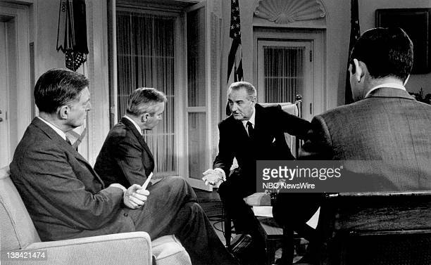 PRESIDENT Aired Pictured NBC News' Ray Scherer ABC News' Frank Reynolds President Lyndon B Johnson CBS News' Dan Rather during a press conference in...