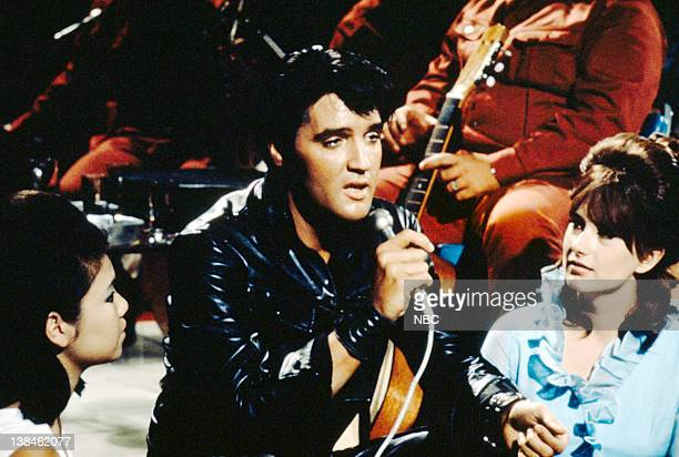 '68 COMEBACK SPECIAL Aired 12/3/68 Pictured Elvis Presley during a performance at NBC Studios in Burbank CA