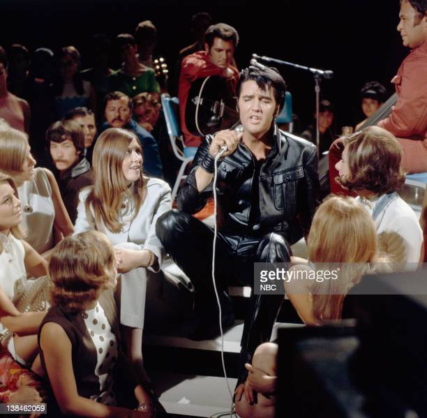 '68 COMEBACK SPECIAL Aired 12/3/68 Pictured Elvis Presley performs onstage in Burbank Ca as part of his '68 Comeback Special