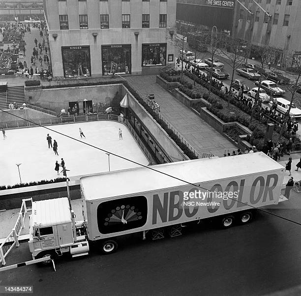 NBC Color Mobile Units at the Christmas Tree Lighting in Rockefeller Center New York City on December 9 1966