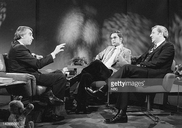 Host Tom Snyder Penthouse magazine publisher Bob Guccione televangelist Jerry Falwell Photo by NBCU Photo Bank