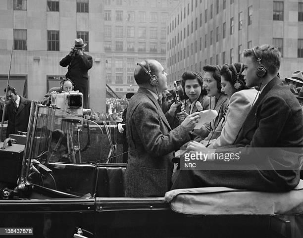 NBC HISTORICAL Aired 4/13/41 Pictured host Bob Stanton interviews British refugee children Helen Janove Barbara Grossbart Joan Hoffman Michael Giller...