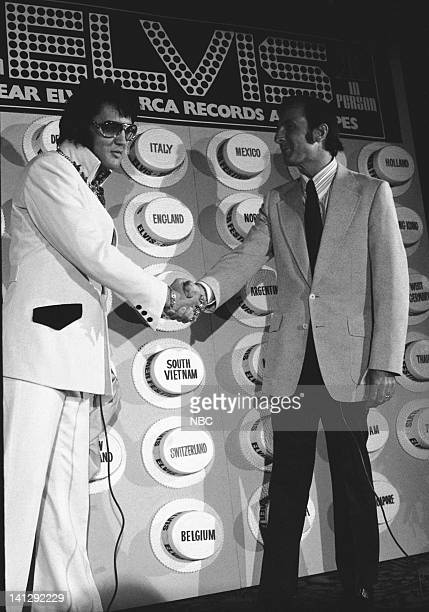 Elvis Presley with RCA Records President Rocco Laginestra during a promotional interview at the Las Vegas Hilton in Las Vegas Nevada on September 4...