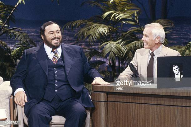 Aired 9/4/86 -- Pictured: Musician and tenor Luciano Pavarotti during an interview with host Johnny Carson on September 4, 1986 -- Photo by: Alice S....