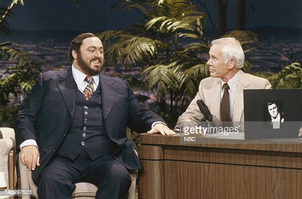 Opera singer Luciano Pavarotti during an interview with Johnny Carson on September 4 1986 Photo by Alice S Hall/NBCU Photo Bank