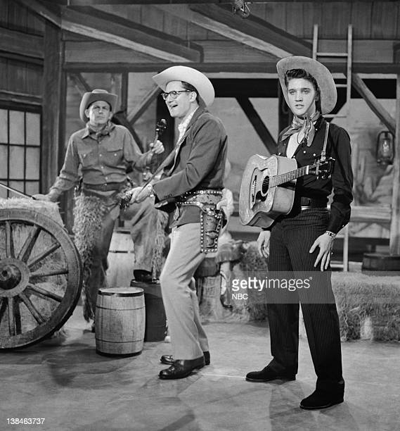 SHOW Aired July 1 1956 Episode 2 Pictured Andy Griffith Steve Allen and Elvis Presley perform a parody of Country Western television shows