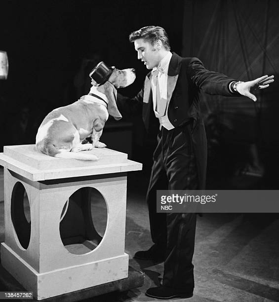 """Aired July 1, 1956 -- Episode 2 -- Pictured: Elvis Presley sings """"Hound Dog"""""""