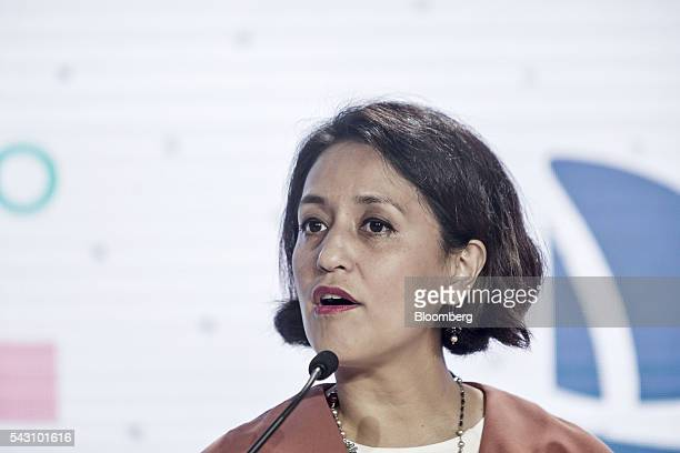 Aireen Omar chief executive officer of AirAsia Bhd speaks during a session at the World Economic Forum Annual Meeting of the New Champions in Tianjin...