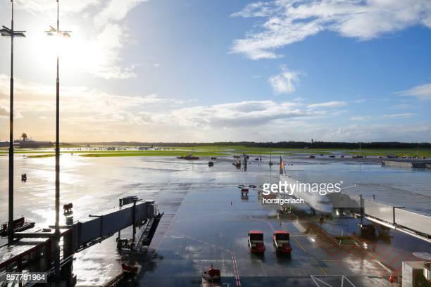 Airfield with Lufthansa A320 passenger aircraft