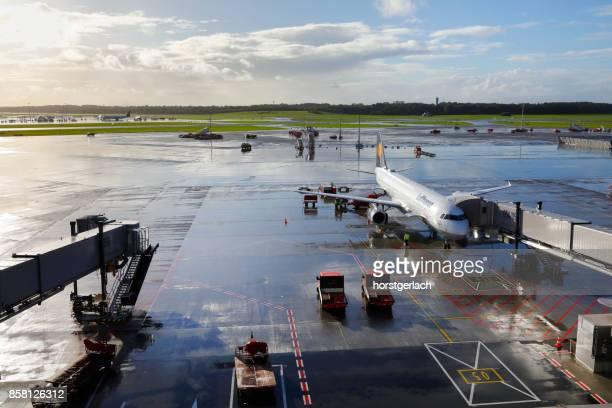 Airfield with Lufthansa A321 passenger aircraft