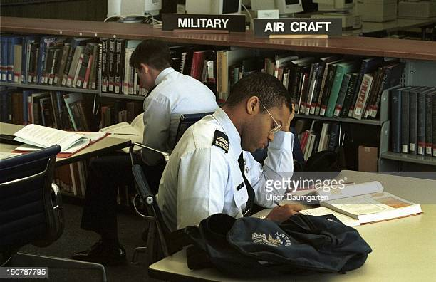 US Airforce Academy Colorado Springs Cadets in the library
