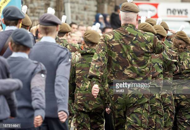 air-force and army cadets marching - british military stock pictures, royalty-free photos & images