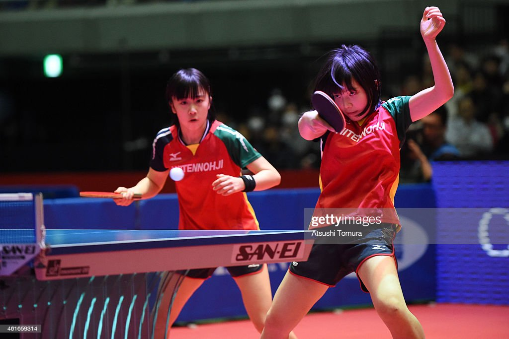 Airi Abe (R) and Mizuki Morizono (L) of Japan competes in the Women's doubles final match against Sayaka Hirano and Kasumi Ishikawa of Japan during day six of All Japan Table Tennis Championships 2015 at Tokyo Metropolitan Gymnasium on January 17, 2015 in Tokyo, Japan.