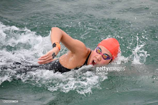 Airi Ebina of Japan swimming the 5km race during the 2020 Australian Open Water Swimming Championships at Brighton Beach on January 26 2020 in...