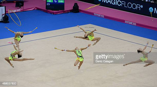 Airi Hatakeyama Mao Kunii Rie Matsubara Sayuri Sugimoto and Kiko Yokota of Japan compete in the Group Apparatus Clubs and Hoop Final during day 7 of...