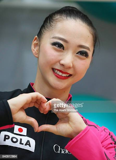 Airi Hatakeyama poses for photographs during the Japan Rhythmic Gymnastic Team Media Access at the National Training Center on June 15 2016 in Tokyo...