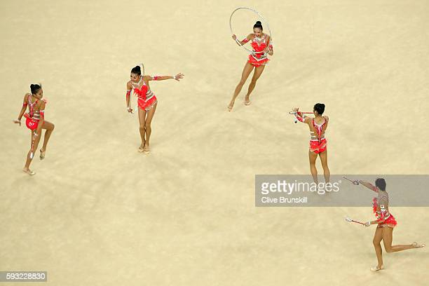 Airi Hatakeyama Rie Matsubara Sakura Noshitani Sayuri Sugimoto and Kiko Yokota of Japan compete during the Group AllAround Final on Day 16 of the Rio...
