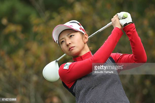 Airi Saito of Japan hits her tee shot on the 12th hole during the third round of the Nobuta Group Masters GC Ladies at the Masters Golf Club on...