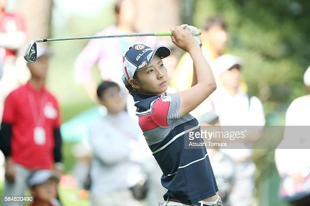 Airi Saito of Japan hits her tee shot on the 1st hole during the first round of the Daito Kentaku Eheyanet Ladies 2016 at the Narusawa Golf Club on...