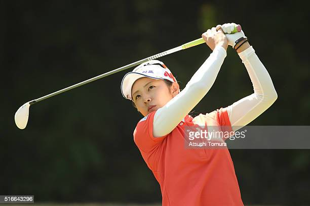 Airi Saito of Japan hits her tee shot on the 3rd hole during the TPoint Ladies Golf Tournament at the Wakagi Golf Club on March 20 2016 in Takeo Japan