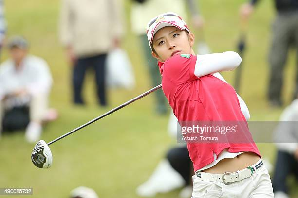 Airi Saito of Japan hits her tee shot on the 8th hole during the second round of the Miyagi TV Cup Dunlop Ladies Open 2015 at the Rifu Golf Club on...