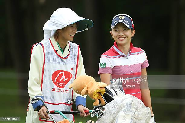 Airi Saito of Japan smiles during the first round of the Nichirei Ladies at the Sodegaura Country Club Shinsode Course on June 19 2015 in Chiba Japan