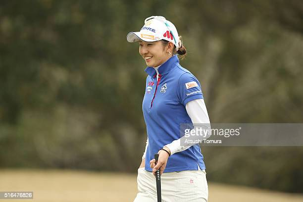 Airi Saito of Japan smiles during the second round of the TPoint Ladies Golf Tournament at the Wakagi Golf Club on March 19 2016 in Takeo Japan