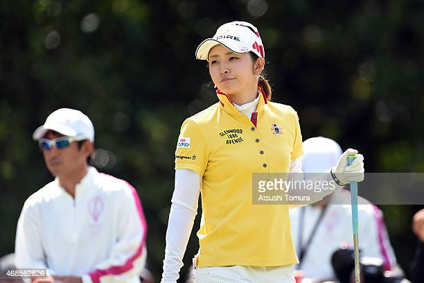 Airi Saito of Japan smiles during the third round of the YAMAHA Ladies Open Katsuragi at the Katsuragi Golf Club Yamana Course on April 4 2015 in...