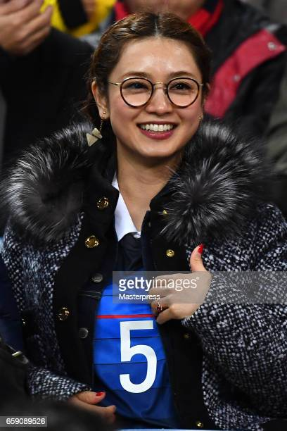 Airi Taira wife of Yuto Nagatomo of Japan is seen on the stand during the 2018 FIFA World Cup Qualifier match between Japan and Thailand at Saitama...