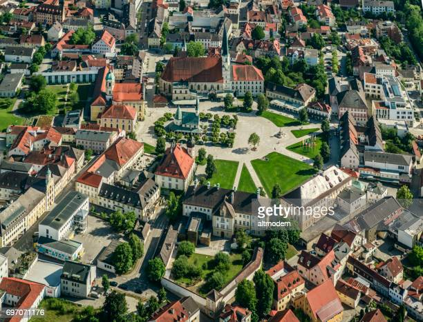 airial view of chapel square in altoetting - altötting stock photos and pictures