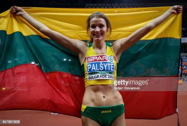Airin Palyt of Lithuania celebrates after winning the Women's High Jump during the European Indoor Athletics Championships Day Two at Kombank Arena...